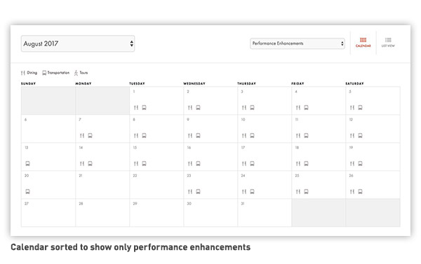 Performance Enhancements Calendar